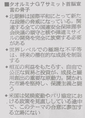 タオルミナサミット首脳宣言の骨子(朝日新聞より)