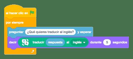Bloques para crear el código de nuestro traductor en Scratch 3.0