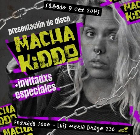 Flyer de la presentación de Macha Kiddo en Casa Brandon, Buenos Aires.