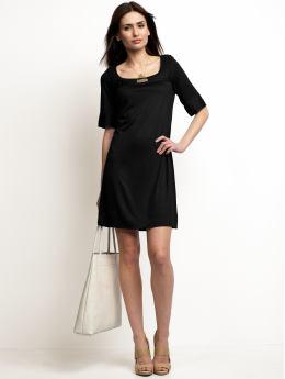 Women: Jersey empire-waist dress - Black