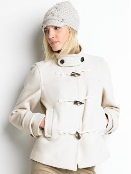 Women's tall jackets: Tall short toggle coat - Lattice beige