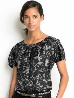 Women's tall: Tall silk lace-print top - Black combo