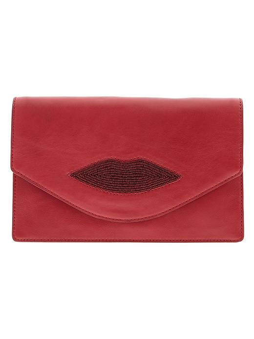 Banana Republic L'wren Scott Collection Beaded Lip Clutch - Red