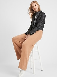 View large product image 3 of 3. Petite Wide-Leg Cozy Knit Pant