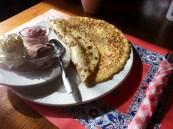 Pancakes with raw goat's milk ice cream