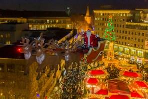 Fliegender Weihnachtsmann in Bochum