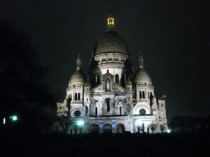 The Sacré-Coeur seen at night.