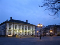 William Square at night, with the Luxembourg city hall in front.