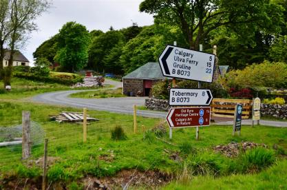 Signs at Dervaig - I've gone 8 miles already, 5 more to Calgary!