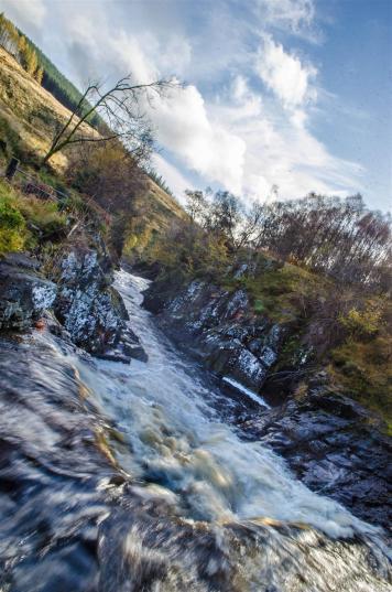 Waterfall at the Keltie Water crossing.