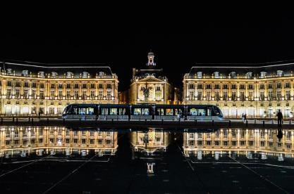 Place de la Bourse at night
