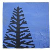 "Blue tree I, 2011, Acrylic on canvas, 9""x9"". Copyright Rebe Banasiak, The Brush Hilt and Banasiak Art Gallery."