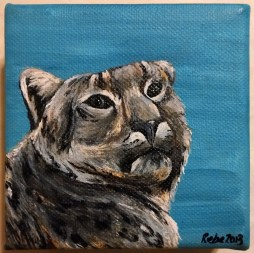 Snow leopard, 2013, Acrylic ink on canvas, 4″x4″. Copyright Rebe Banasiak, The Brush Hilt and Banasiak Art Gallery.