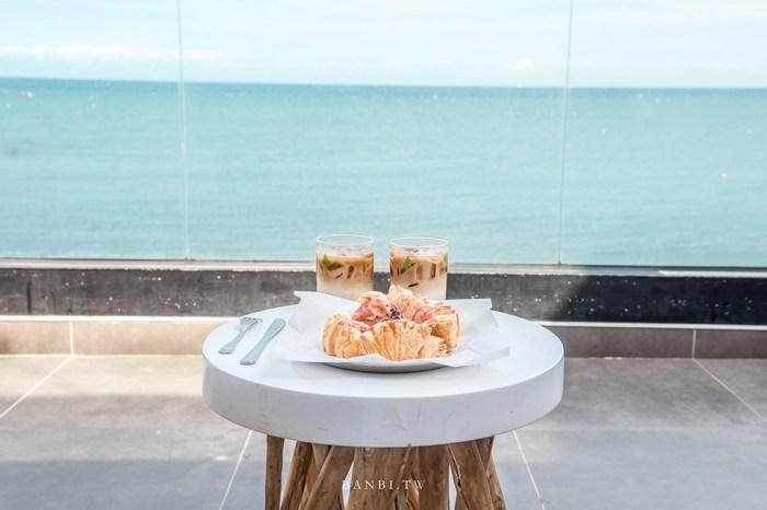 釜山機張Hayden Coffee:蔚藍海景玻璃咖啡廳看海、韓國人必點的花朵千層酥