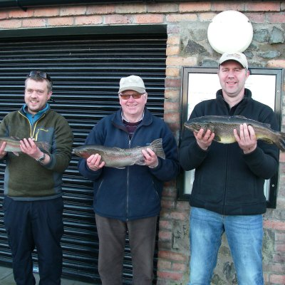 BAC Bobby Blakley Cup 4 March 2017 - Roger McClements 1st Brown Trout 5lbs 8ozs, Henry McKnight 2nd Rainbow Trout 4lbs 9ozs and Keith Gibson 3rd Rainbow Trout 2lbs