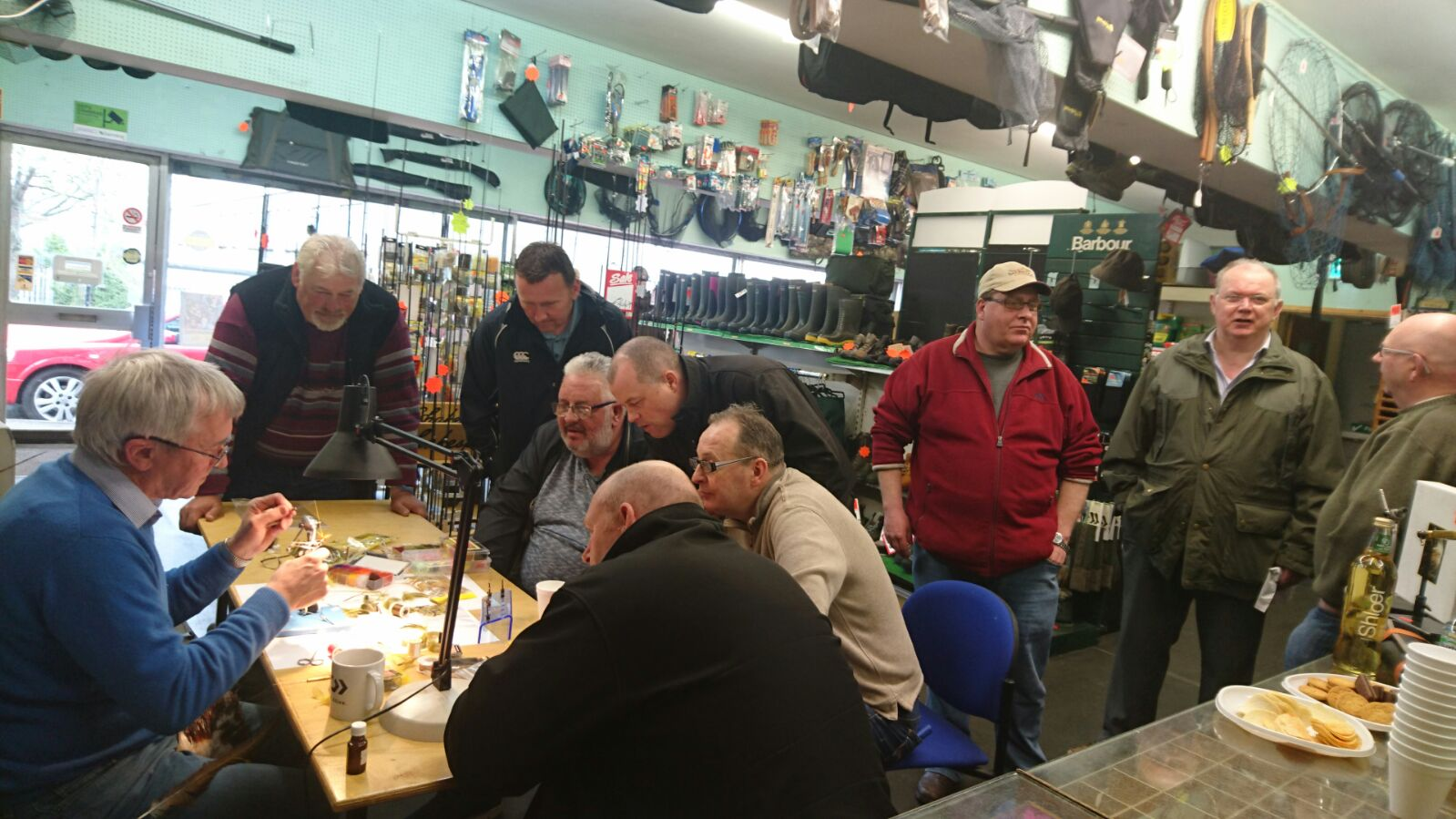 BAC Frankie McPhillips fly dressing in Coburns with local anglers and fly tyers on 22 April 2017
