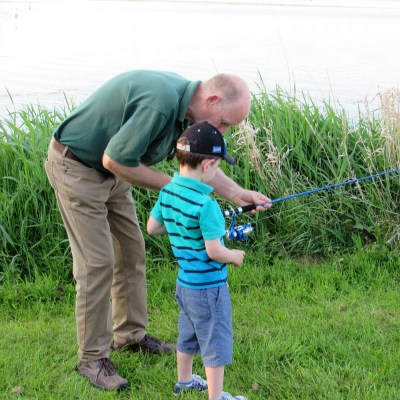 BAC Keith Cole, APGAI gives a junior angler some casting tuition at Corbet Lough on 25 May 2017