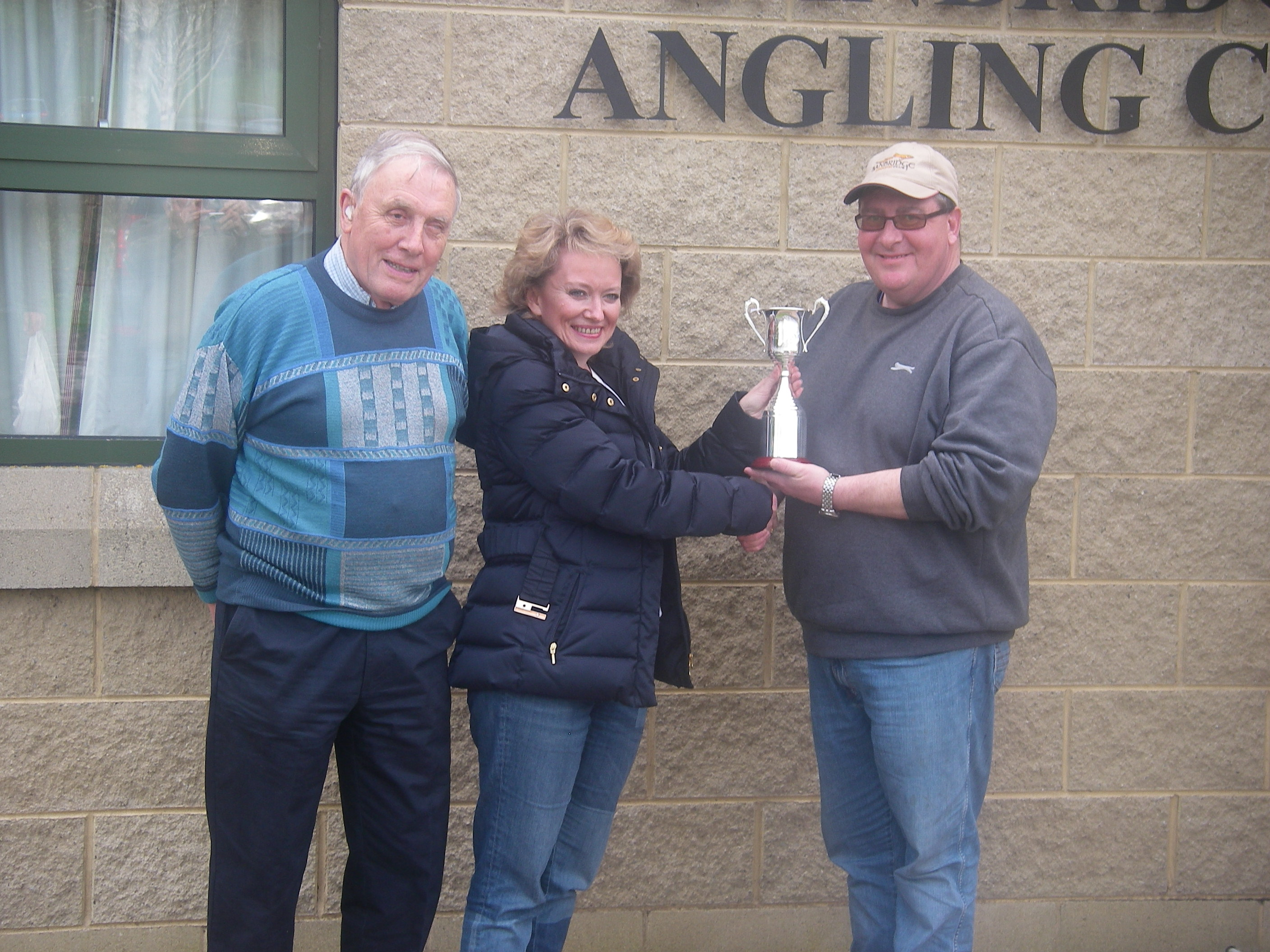 BAC Linda McCandless Cup River Bann 1 April 2017 - Dr Jacqueline McCandless, accompanied by Joe McCandless her father and the Club's Joint President, presenting the Linda McCandless Cup to Martin Dynes
