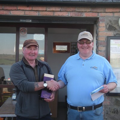 BAC Friendship Cup Corbet Lough 8 April 2017 Martin Dynes makes a presentation to Noel Burns, Banbridge Club's top rod
