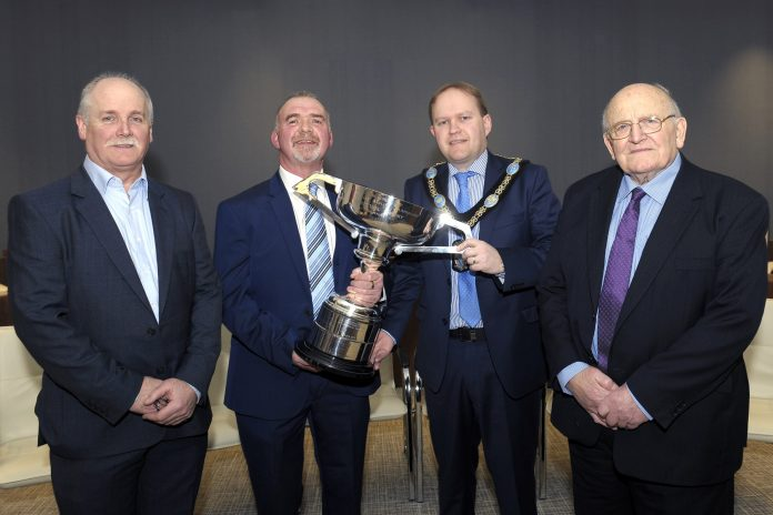 BAC ABC Council's Reception for Geoff Hylands, World Cup winner 2017 - L-R Sam Watt, Chair Geoff Hylands, Lord Mayor Gareth Wilson and Sam Vage, President - Photograph courtesy of E. Byrne, Photographer
