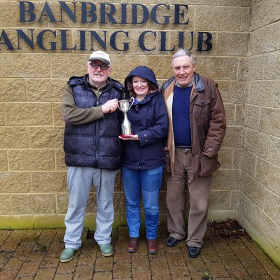 BAC Jacqueline McCandless and her father Joe McCandless, Club President present the Linda McCandless Cup to Wilson Clinghan the 2018 winner on Easter Monday 2 April 2018
