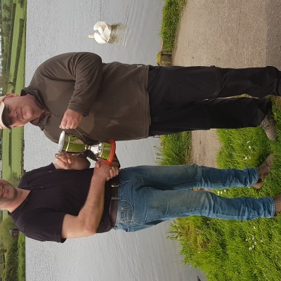 BAC Roger McClements presents The Corbet Lough Challenge Cup to Stephen Rea at Corbet Lough on 19 May 2018
