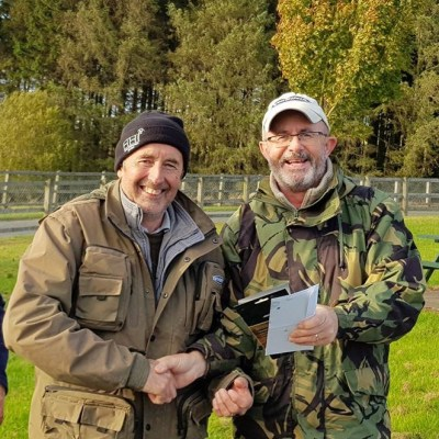 BAC Friendship Cup 2018 at Seaghan Dam on 28 September 2018 - Aidan Donnelly presents Dessie Graham with the Heaviest Fish Prize