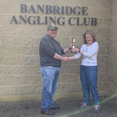 BAC - Dr Jacqueline McCandless presents the Linda McCandess Cup to the winner Martin Dynes following the Easter Monday Competition on the River Bann on Monday 22 April 2019
