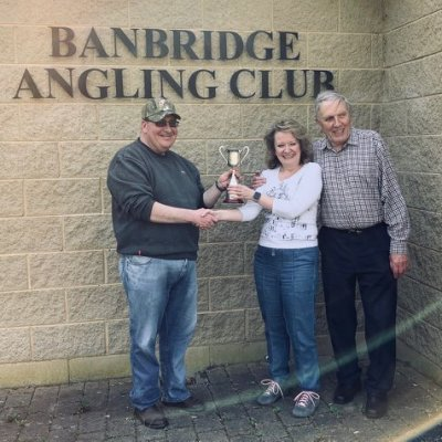 BAC The Linda McCandless Cup Competition on the River Bann on Monday 22 April 2019 - Dr Jacqueline McCandless accompanied by her father Joe McCandless presents the Cup to Martin Dynes