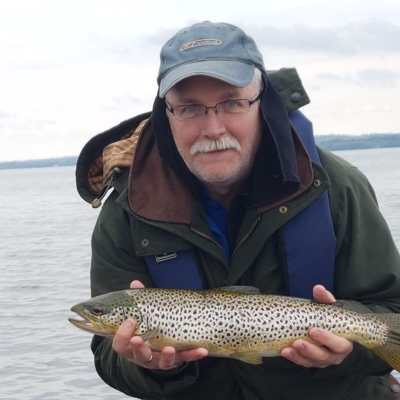 BAC - Lough Sheelin 2019 - Sam Watt, Club Chairman with a great Brown Trout taken on Mayfly