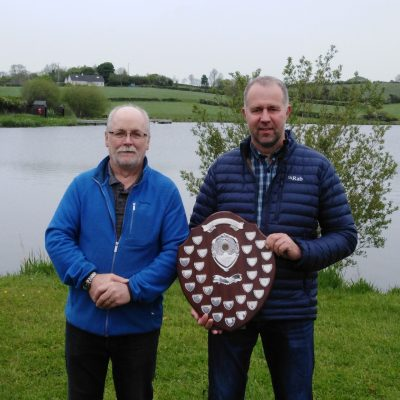 BAC - Sam Watt presents Roger McClements with the Angler of the Year 2020 Shield at the Corbet Lough on Thursday 27 May 2021