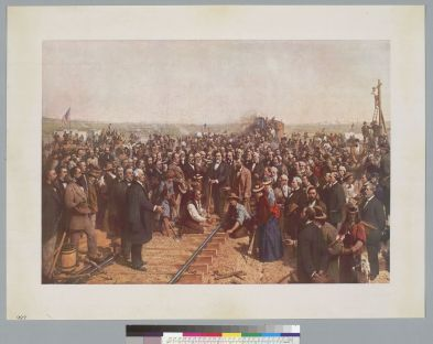 Hill, Thomas. [Ceremony to drive the golden spike at Promontory Point, Utah] 1869. Print on paper: lithograph. BANC PIC 1963.002:1804--E. Courtesy of The Bancroft Library, University of California, Berkeley ONLINE