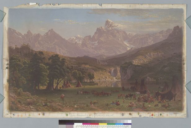 Bierstadt, Albert. Indian encampment at foot of Big Horn Range, Rocky Mountains, Montana (1863). BANC PIC 1963.002:0769--E. Courtesy of The Bancroft Library, University of California, Berkeley ONLINE
