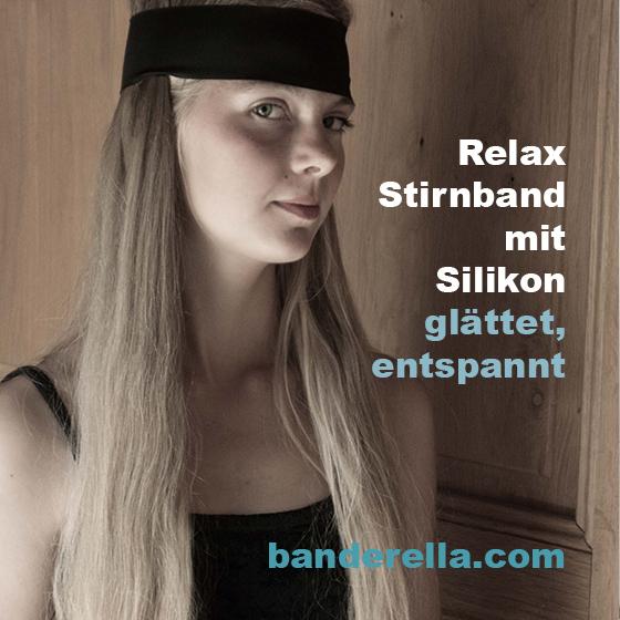 Relax Stirnband von Banderella, mit innen liegender patentierter Silikonbeschichtung - glättet Strinfalten, Zornesfalte und Augenfalten