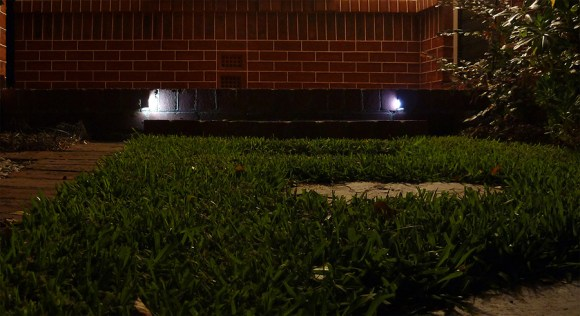 Front steps, resin cast lights
