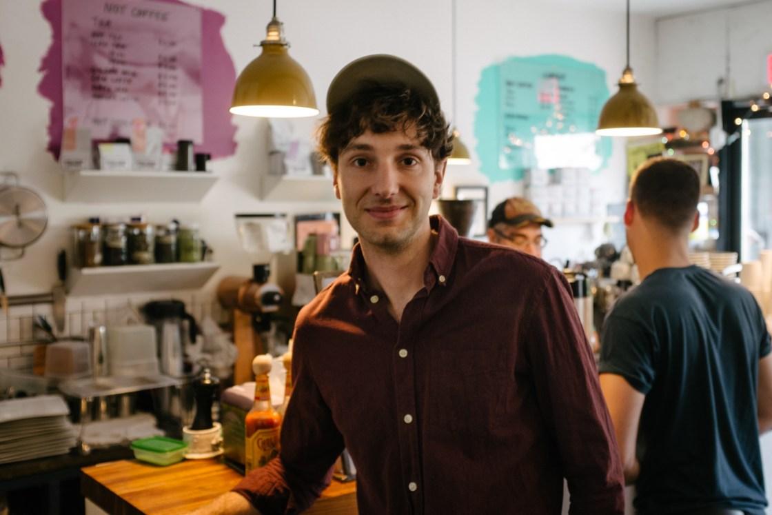 Jeremy Neale at Dweebs, a coffeeshop in Bushwick