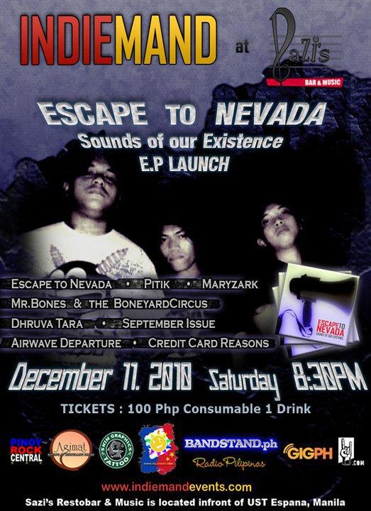INDIEMAND @ Sazis Restobar presents ESCAPE TO NEVADA EP LAUNCH