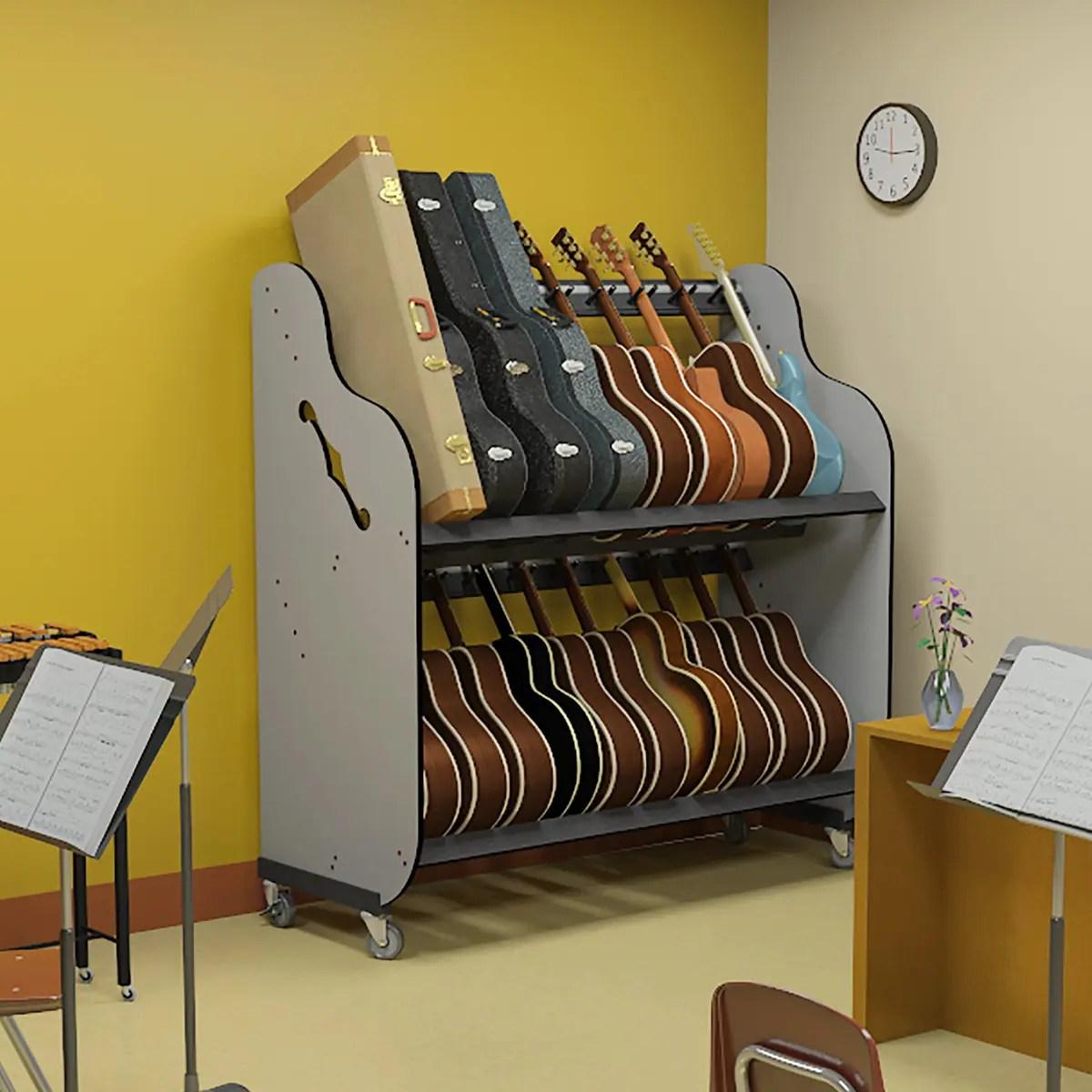 band room double stack guitar shelf racks