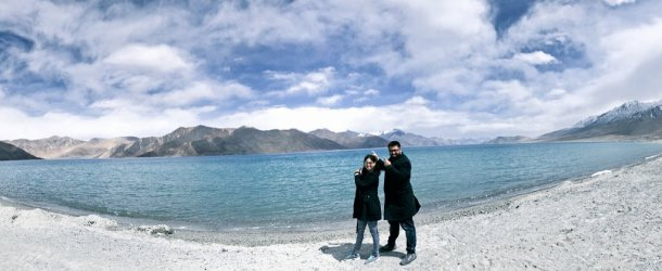Aadil and Saniya at Pangong Lake