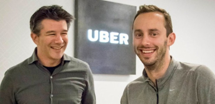 Chief executive Uber,Travis Kalanick (kiri) dan Anthony Levandowski. Foto: Tony Avelar/Associated Press