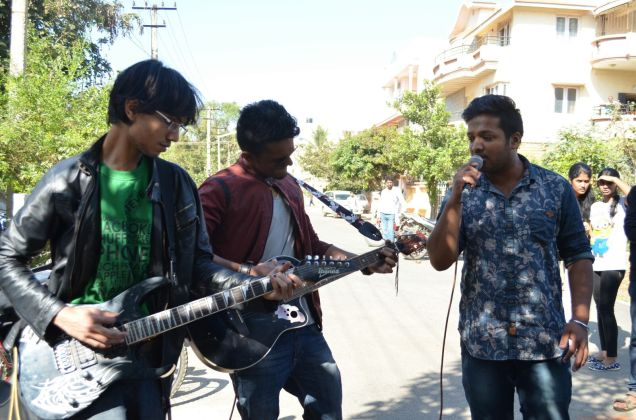 ENTHU MUSICIANS: College going students perform in front of the entire locality.