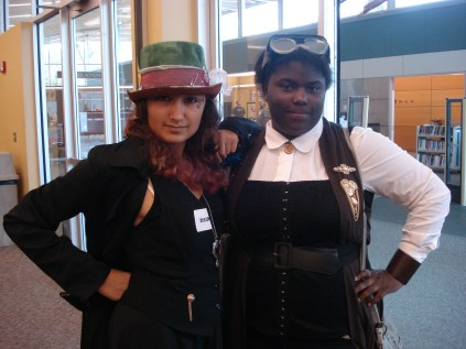 Teens come dressed in their Steampunk Cosplay
