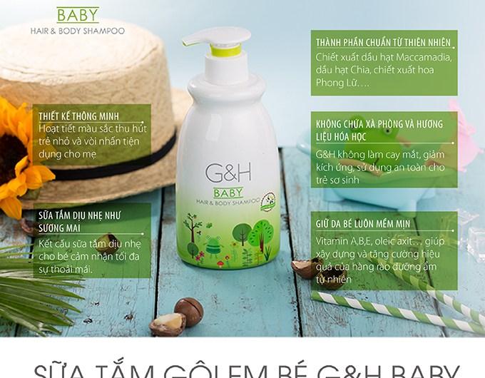 Sữa Tắm và Gội Em Bé G&H Baby Hair & Body Shampoo (400ml)