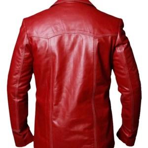 Brad Pitt Tyler Durden Red Cowhide Leather Jacket