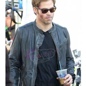 Get Chris Pine Horrible Bosses 2 Rex Hanson Mens Real Leather Cafe Racer Jacket