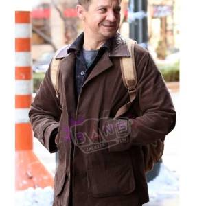 Collect Jeremy Renner Hawkeye Movie Brown Real Suede Leather Jacket
