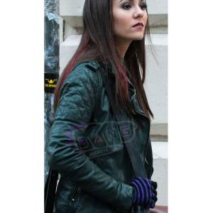 Get Eye Candy Victoria Justice Genuine Green Leather Slim Fit Motorcycle Jacket