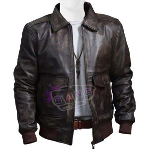 Collect Mens A-2 Distressed USAF Air Force Flight Bomber Brown Leather Jacket