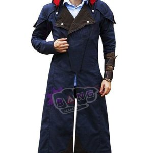Get Arno Victor Dorian Assassins Creed Unity Hooded Black Lapel Leather Trench Coat