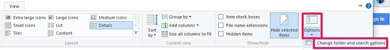 Go to folder options